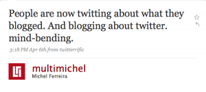 Tweeting about blogging?