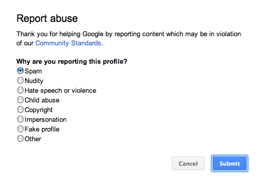 Reporting a profile on Google+