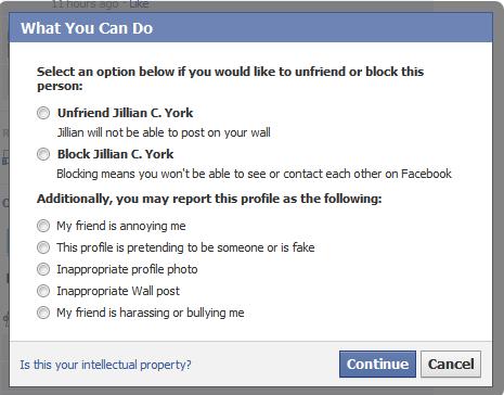 Facebook's reporting mechanism