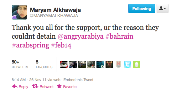 A tweet from Maryam Al-Khawaja suggesting that international support has been beneficial to her sister